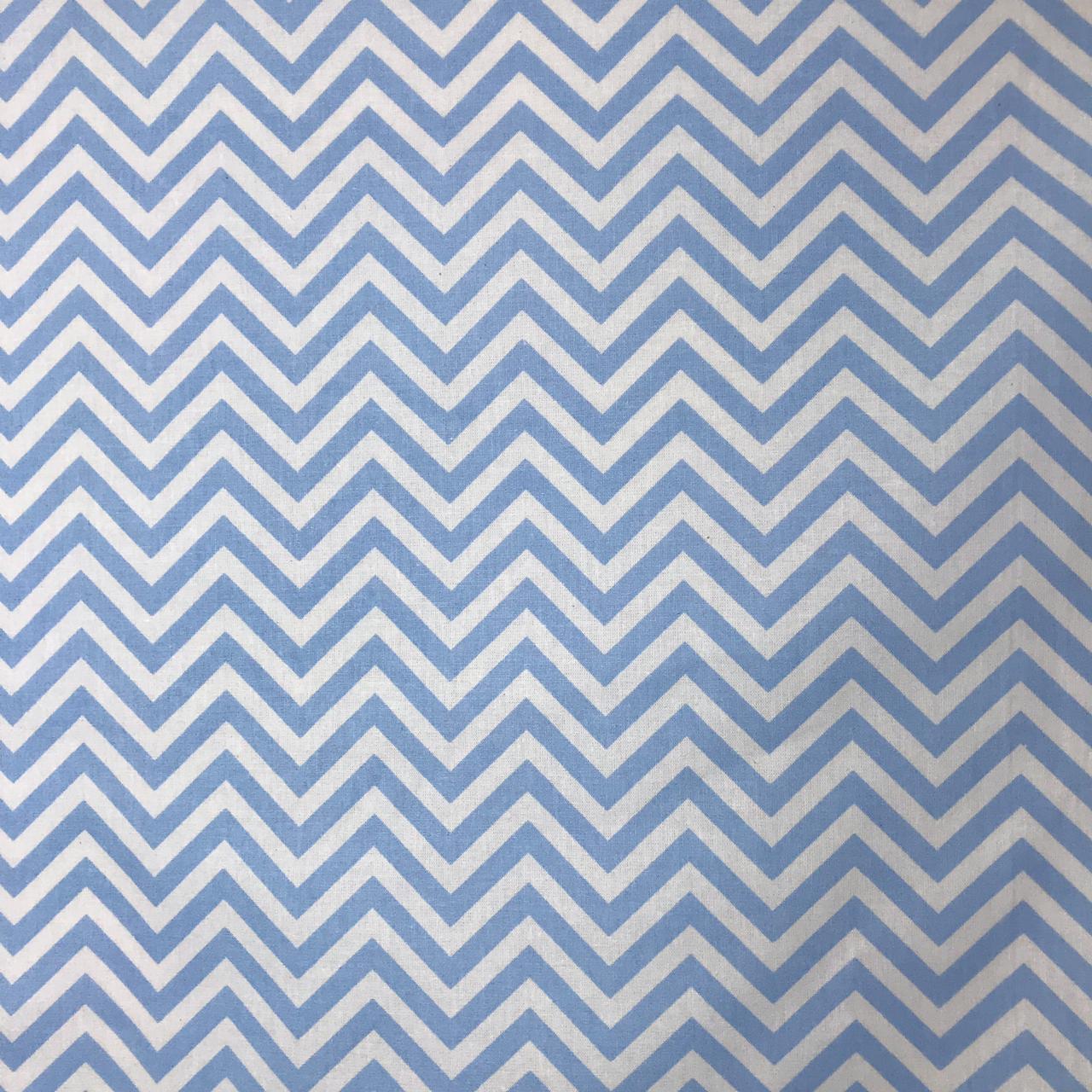 Tecido Tricoline  Chevron Azul Bebê - 1,50m de Largura