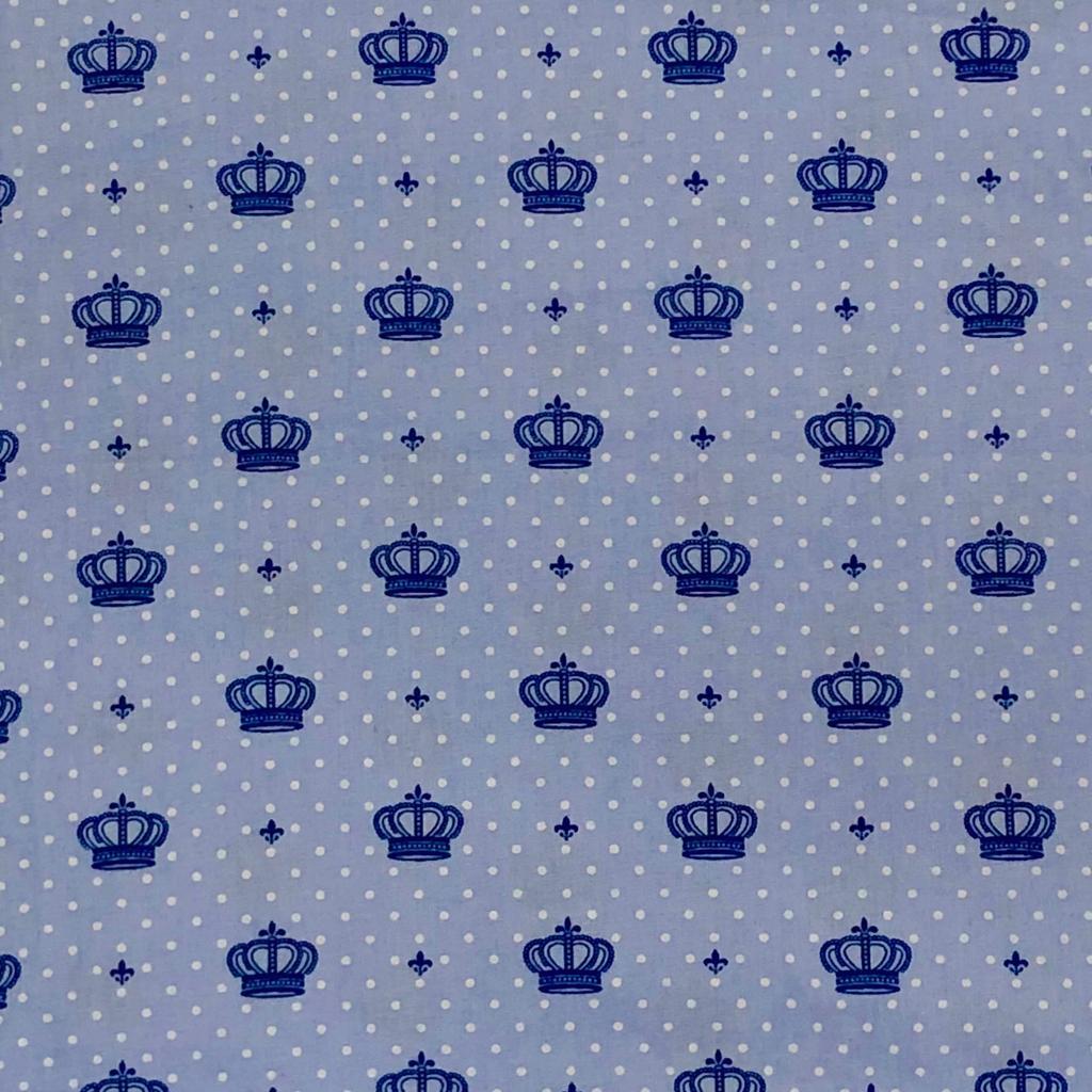 Tecido Tricoline Coroa Azul - 1,50m de Largura