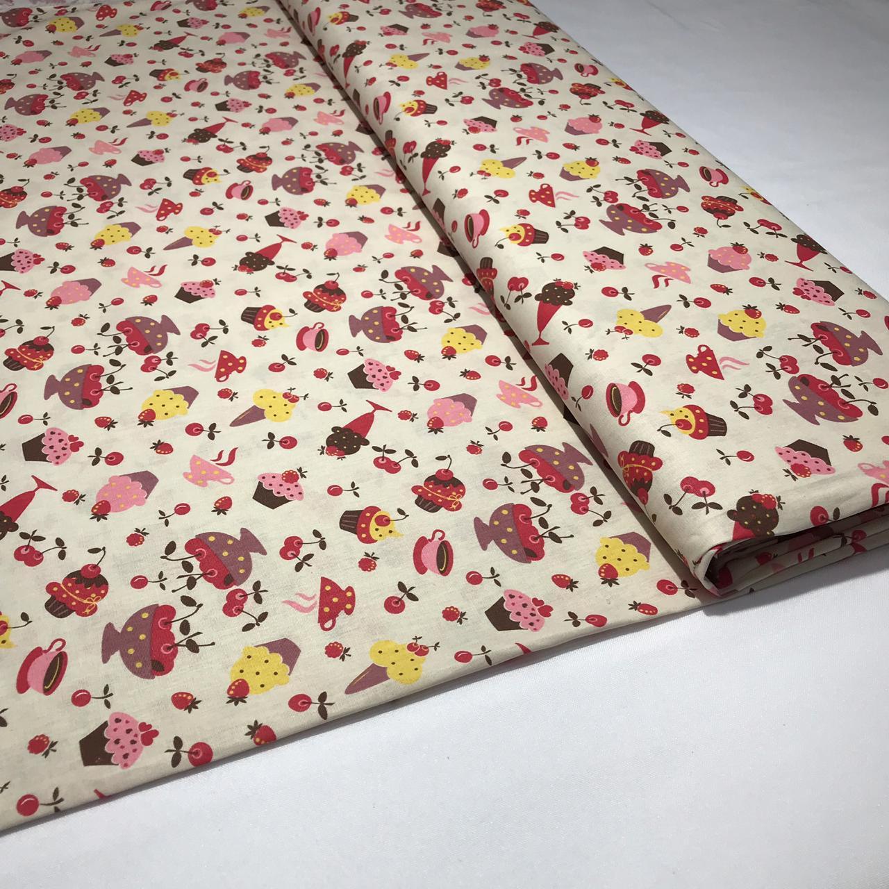 Tecido Tricoline Docinhos Coloridos - 1,50m de Largura