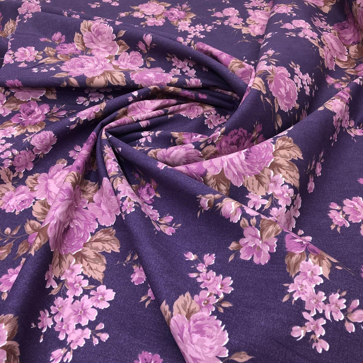 Tecido Tricoline Fernando Maluhy Fundo Lilás e Floral Rosa - 1,42m de Largura