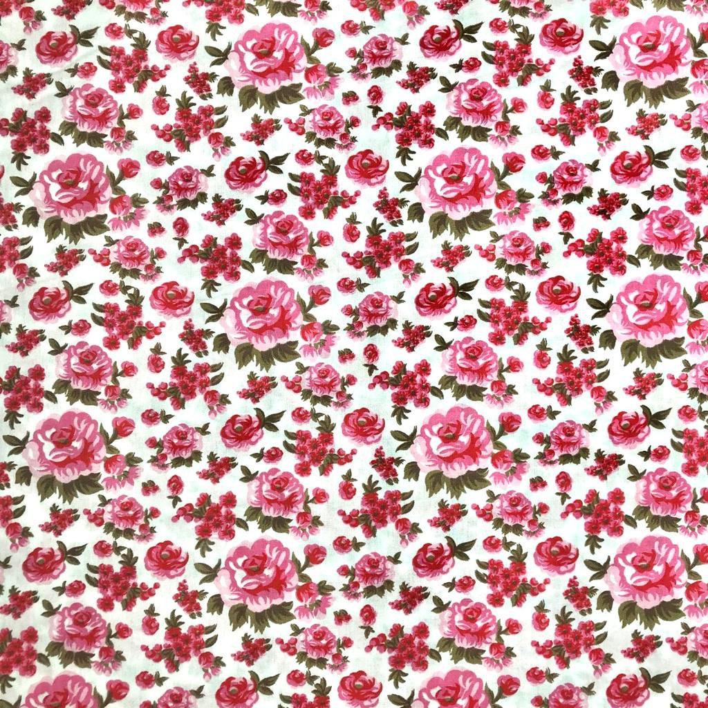 Tecido Tricoline Georgia Floral Rosa e Fundo Branco - 1,50m
