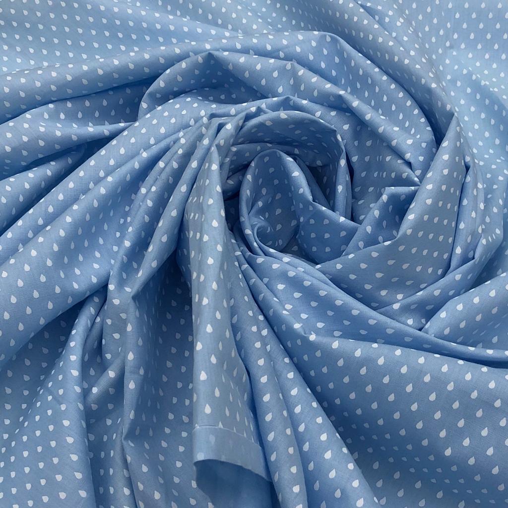 Tecido Tricoline Gotinhas Fundo Azul - 1,50m de Largura