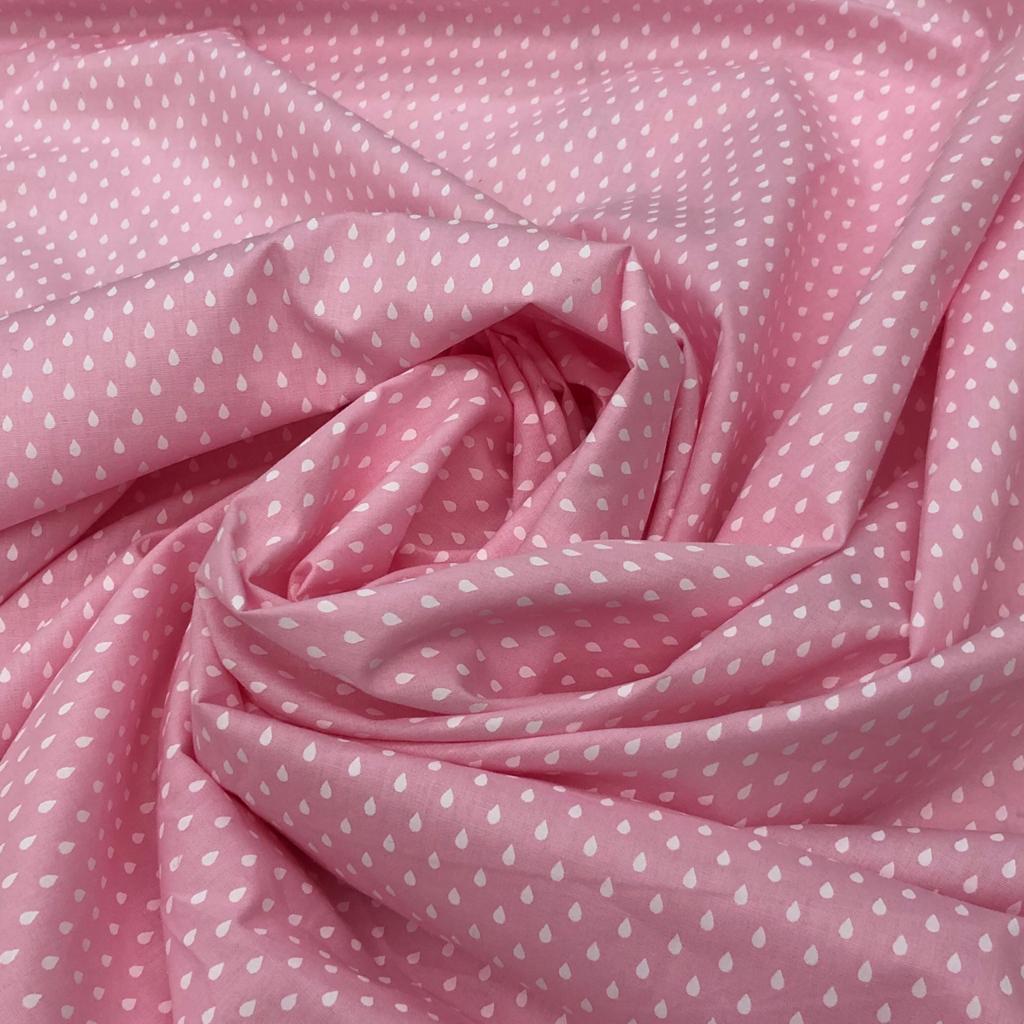 Tecido Tricoline Gotinhas Fundo Rosa - 1,50m de Largura