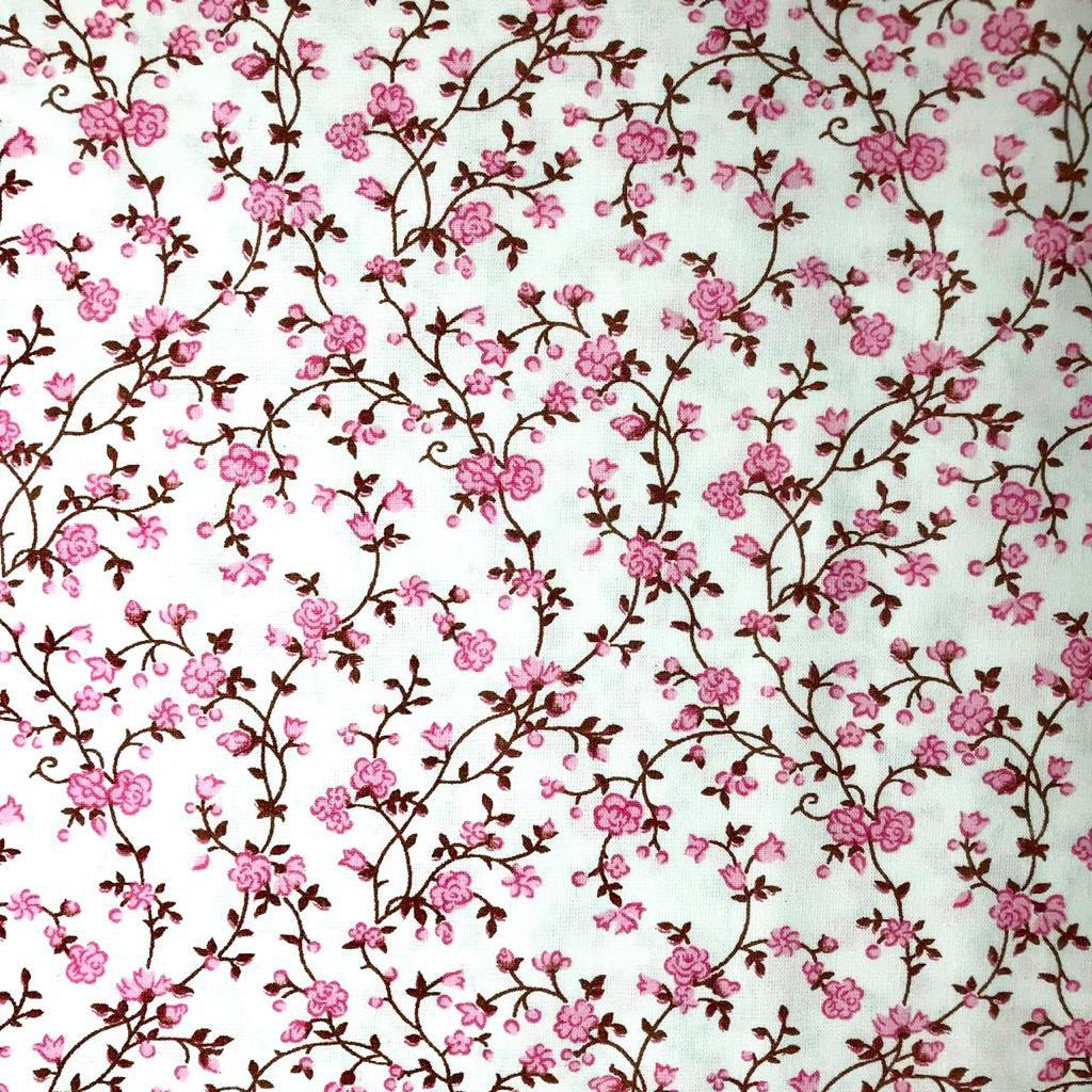 Tecido Tricoline Laura Floral Rosa e Fundo Branco - 1.50m de Largura