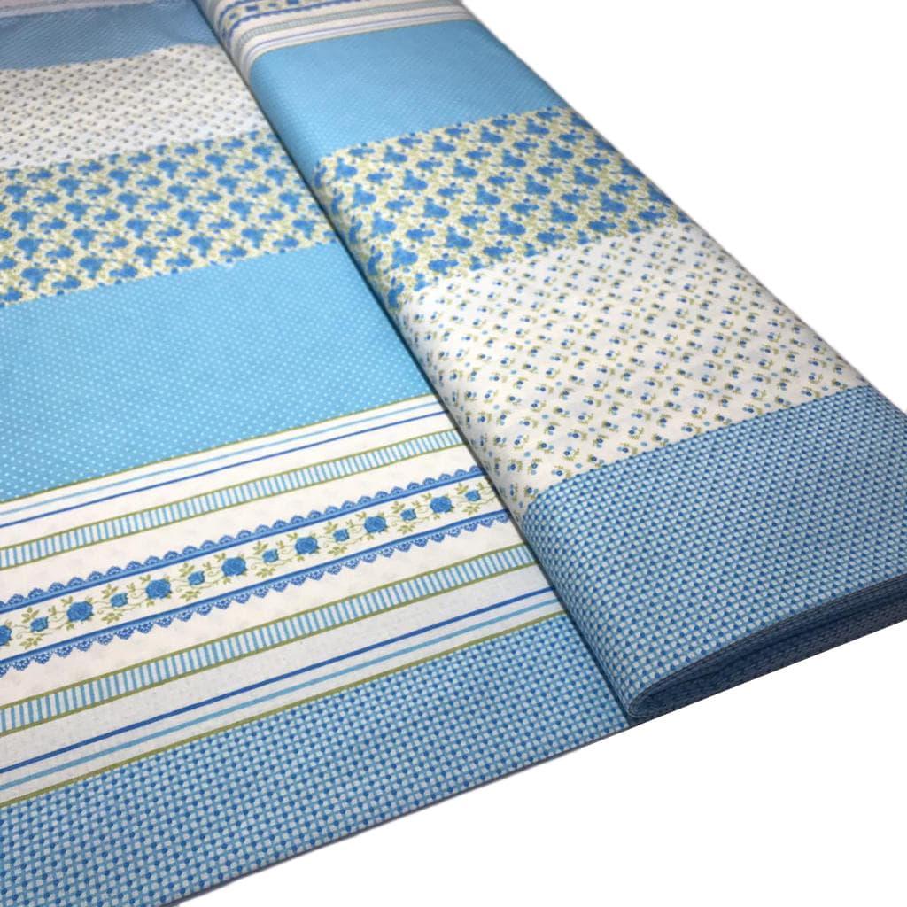 Tecido Tricoline Medley Patchwork Azul  - 1,50m de Largura