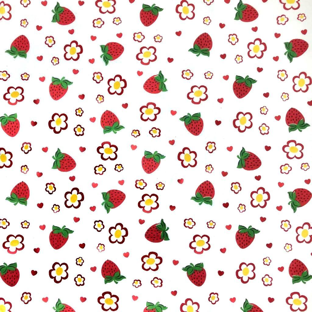 Tecido Tricoline Morango Vermelho Fundo Branco - 1,50m de Largura