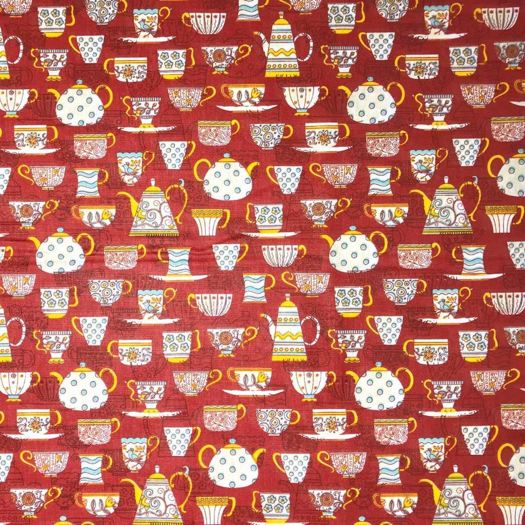 Tecido Tricoline Xícaras Fundo Vermelho - 1,50m de Largura