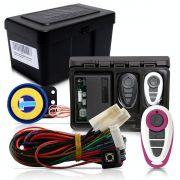 Alarme Automotivo Universal Microcontrol Com Bloqueador Antifurto + Capa Controle Branco E Lilás
