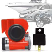 Buzina Automotiva Compacta 2 Cornetas Carro Moto Maritima 12v