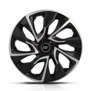 Calota Esportiva Aro 14 Ds4 Black Silver 4X100 4X108 5X100