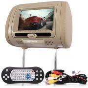 Encosto De Cabeça Com Monitor Navmaster Bege Dvd Player Com Game Mp3 Entrada Usb Sd Fone Nv668Gr
