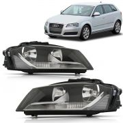 Farol Audi A3 Sportback 2009 2010 2011 2012 2013 Foco Duplo Mascara Negra