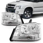 Farol Chevrolet S10 Blazer 2001 2002 2003 2004 2005 2006 2007 2008 2009 2010 2011 Foco Duplo Cromado
