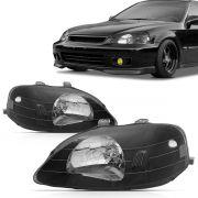 Farol Civic 1999 2000 Máscara Negra Com Lampada Estacionamento