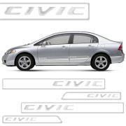 Friso Lateral Resinado New Civic 2012 2013 2014 2015 Cromado 4 Peças