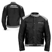 Jaqueta Moto Impermeável Texx Defender Protetor Costas Ombro Cotovelo Refletivo Cinza