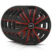 Jogo Calota Esportiva Aro 13 Prime Black Red 4X100 4X108 5X100