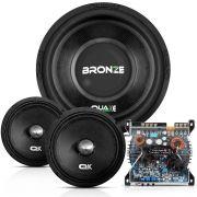 Kit Alto Falante Quake Bronze 12 Pol + Amplificador Vs650 650W + Par falantes 6 Pol 200W Mg 200h