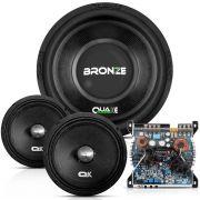 Kit Alto Falante Quake Bronze 12 Pol + Amplificador Vs650 650W + Par falantes 8 Pol Mg 200h
