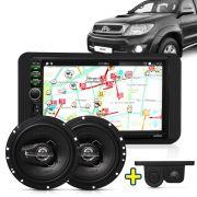 Kit Multimidia Mp5 Corolla Hilux SW4 SRV 03 A 11 + Moldura Preta Camera Ré Sensor Par Falante 6