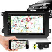 Kit Multimidia Mp5 Gol Saveiro Voyage G7 17 A 19 + Moldura Preto Câmera Ré Sensor