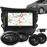 Kit Multimidia Mp5 HB20 HB20s HB20x 12 A 15 + Moldura Preta Camera Ré Sensor Par Falantes 6