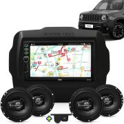 Kit Multimidia Mp5 Jeep Renegade 2015 2016 + Moldura Camera Ré Sensor 2 Pares Alto Falantes 6