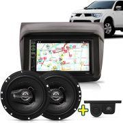 Kit Multimidia Mp5 L200 2009 2010 2011 2012 + Moldura Camera Ré Sensor Par Falante 6