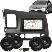 Kit Multimidia Mp5 New Civic 06 A 11 + Moldura Grafite Camera Ré Sensor 2 Pares Alto Falantes 6