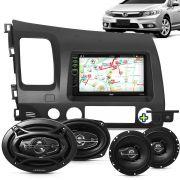 Kit Multimidia Mp5 New Civic 06 A 11 + Moldura Grafite Camera Ré Sensor Par Falantes 6