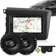 Kit Multimidia Mp5 New Civic 2012 2013 2014 + Moldura Preto Camera Ré Sensor Par Falante 6