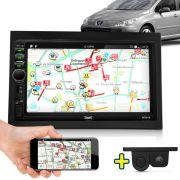 Kit Multimidia Mp5 Peugeot 307 C3 03 04 05 06 07 08 09 10 + Moldura Câmera Ré Sensor