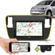 Kit Multimidia Mp5 Up 2014 2015 2016 + Moldura Amarelo Câmera Ré Sensor