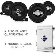 Módulo Digital Hs320-dx + Kit 2 Vias + Par Falante 6 Pol