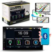 Mp5 Player 2 Din Touch Screen MP3 Bluetooth USB SD Auxiliar Espelhamento Câmera Ré 200W