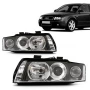 Par Farol Audi A4 2001 2002 2003 2004 Foco Duplo Cromado Com Milha