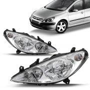 Par Farol Peugeot 307 2002 2003 2004 2005 2006 Foco Duplo Cromado
