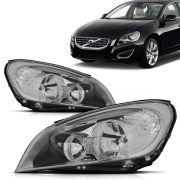 Par Farol Volvo S60 2011 2012 2013 2014 Foco Duplo Máscara Negra Led