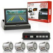 Sensor De Estacionamento Com Camera Tela 4,3? Push Down Prata