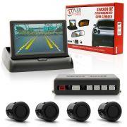 Sensor De Estacionamento Com Camera Tela 4,3? Push Down Preto