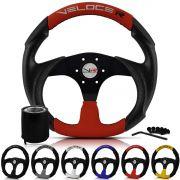 Volante Esportivo Peugeot 206 306 106 Buzina Na Chave De Seta Veloce Racing Centro Preto + Cubo