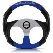 Volante Esportivo Veloce Racing Azul com centro Prata