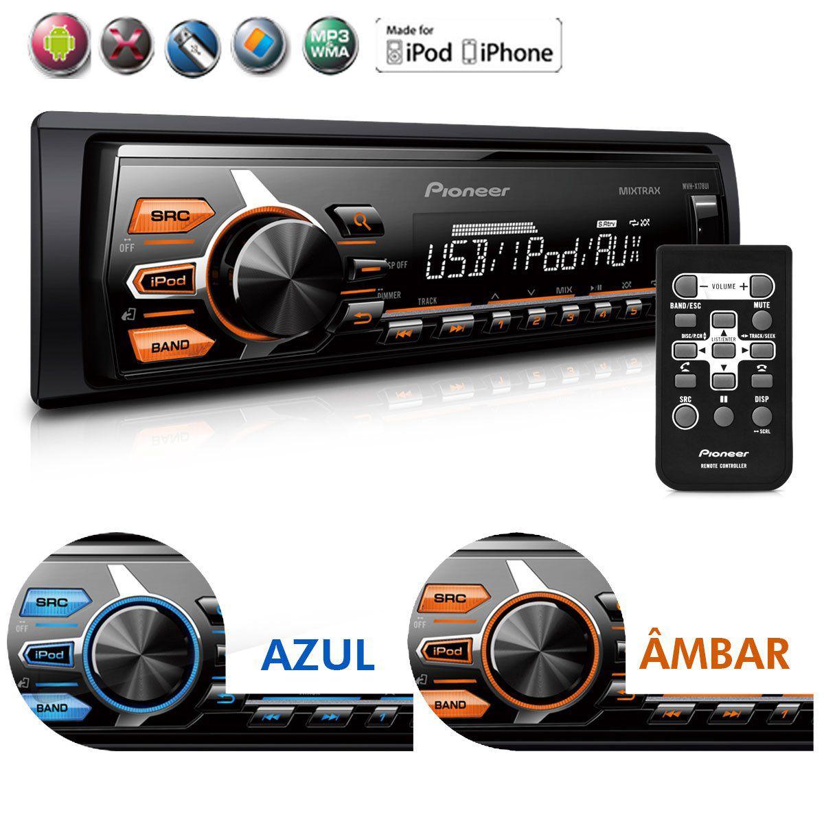 Auto Radio Pioneer Mixtrax MVH-X178UI Usb Mp3 Android IOS