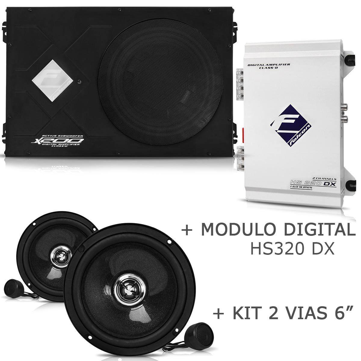 Caixa Slim Falcon X200-slim + Módulo Hs320 Dx + Kit 2 Vias