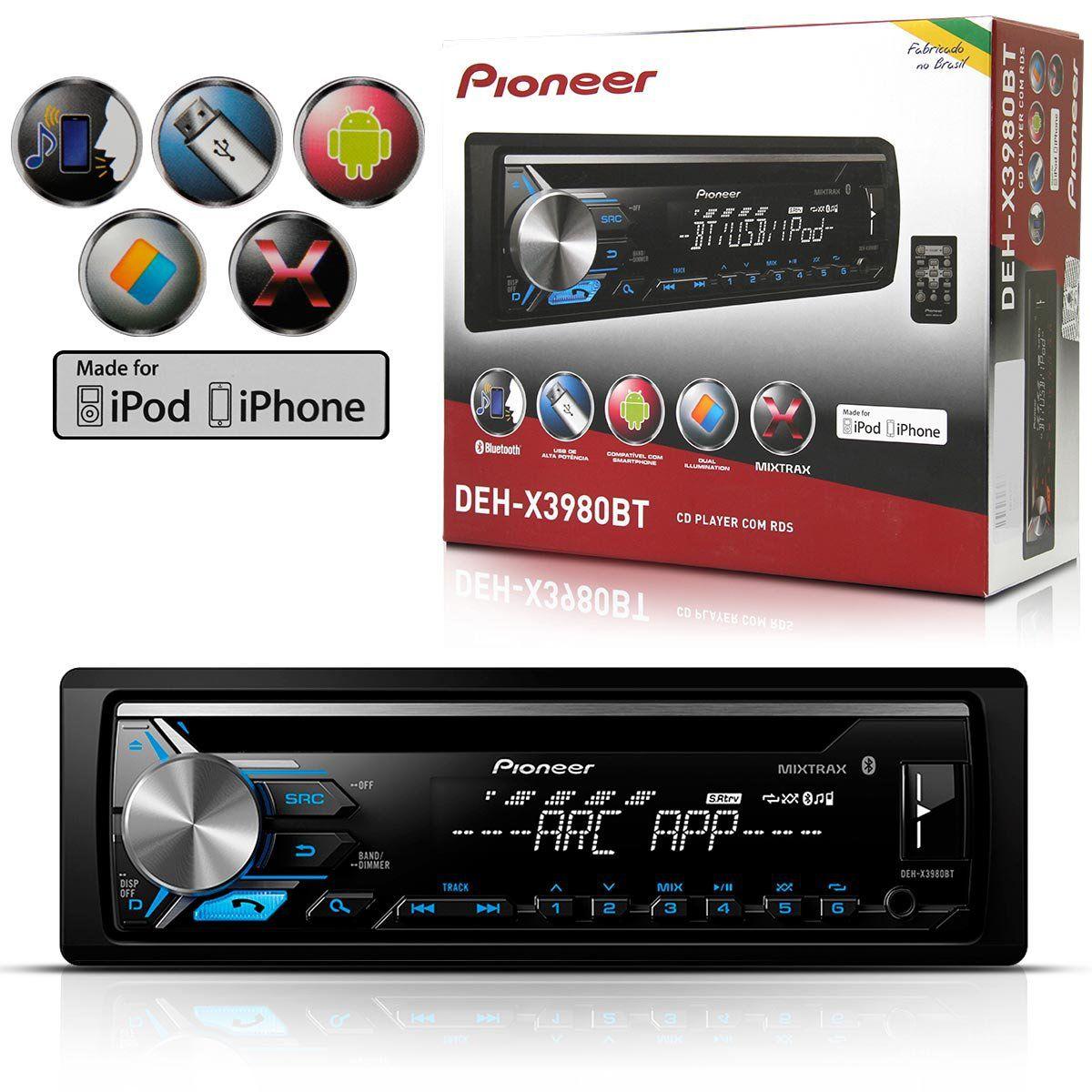 Cd Player Pioneer Deh-X3980Bt Mixtrax Usb Aux Bluetooth
