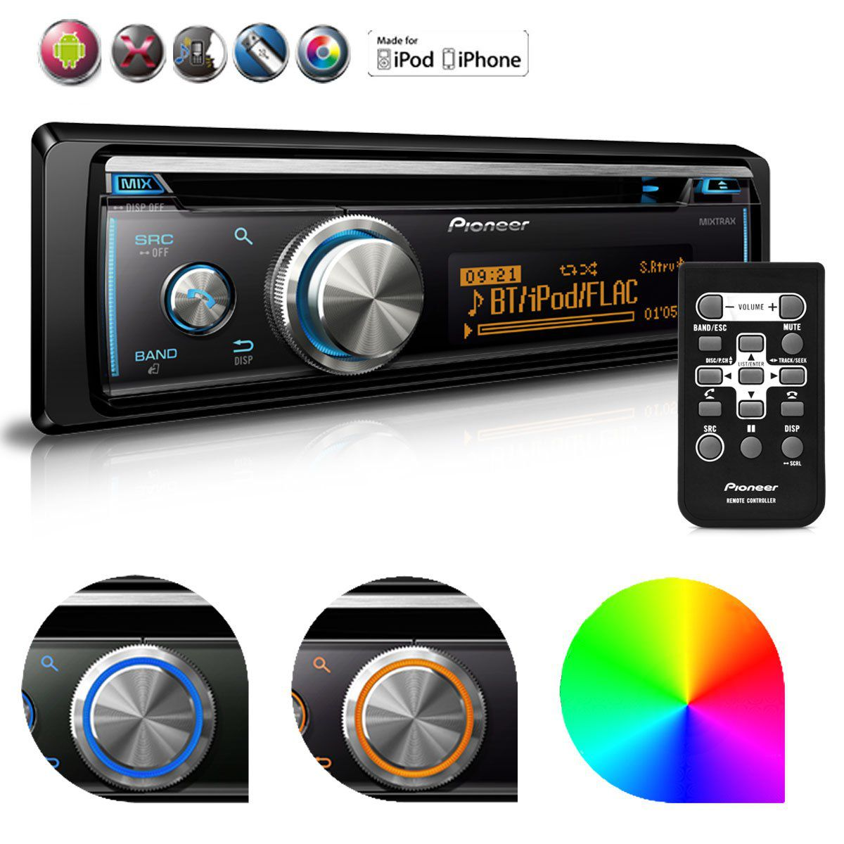 Cd Player Pioneer Mixtrax Deh-X8780Bt Usb Mp3 Bluetooth Android IOS