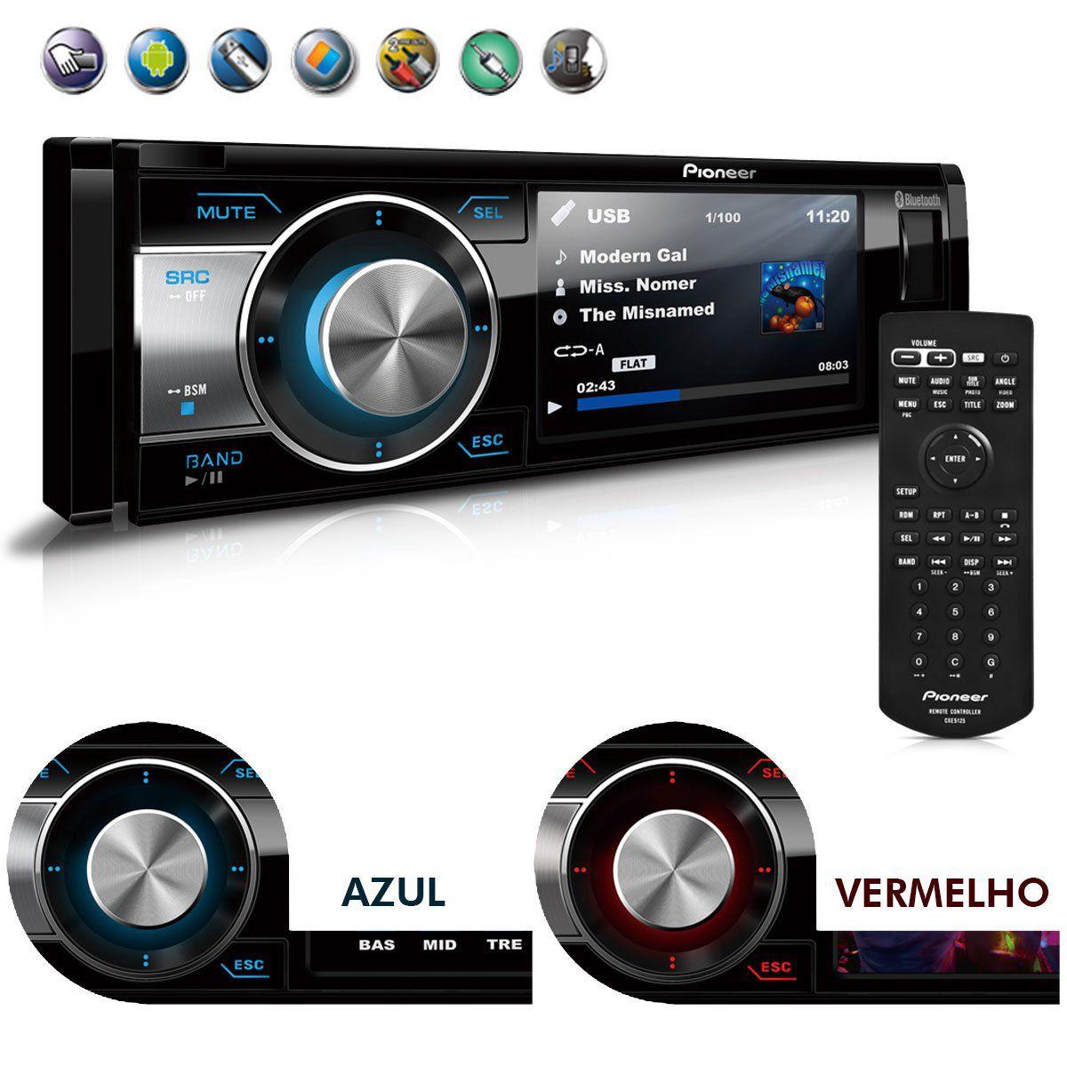 Dvd Player Pioneer 1 Din DVH-8780AVBT Usb Bluetooth Rca Aux Tela 3,5''