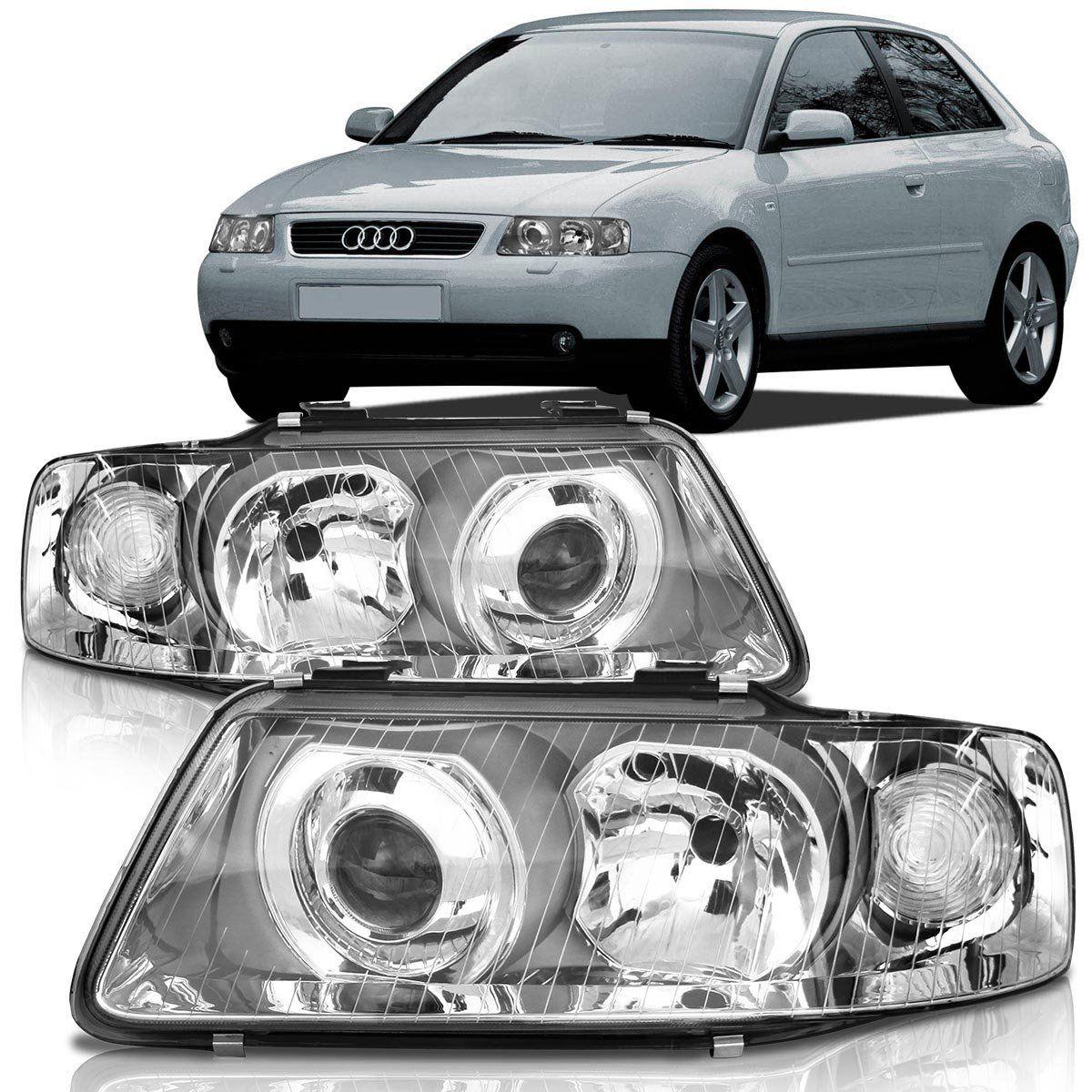 Farol Audi A3 2001 2002 2003 2004 2005 2006 Foco Duplo Cromado