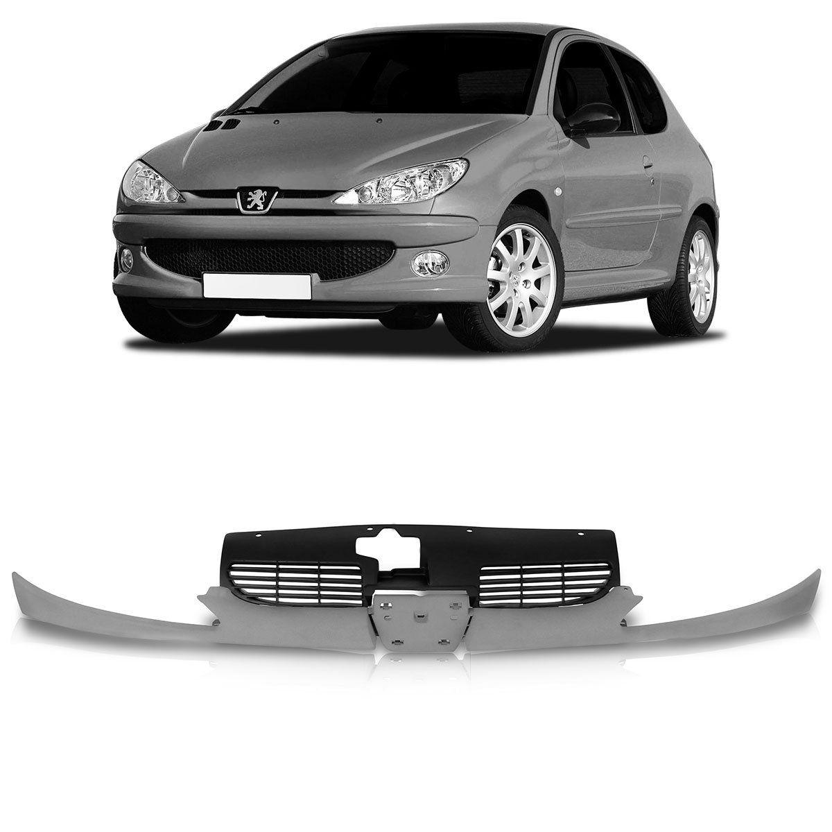 Grade Dianteira Peugeot 206 Com Bigode 99 2000 2001 2002 2003 2004 2005 2006 2007 2008 2009 2010