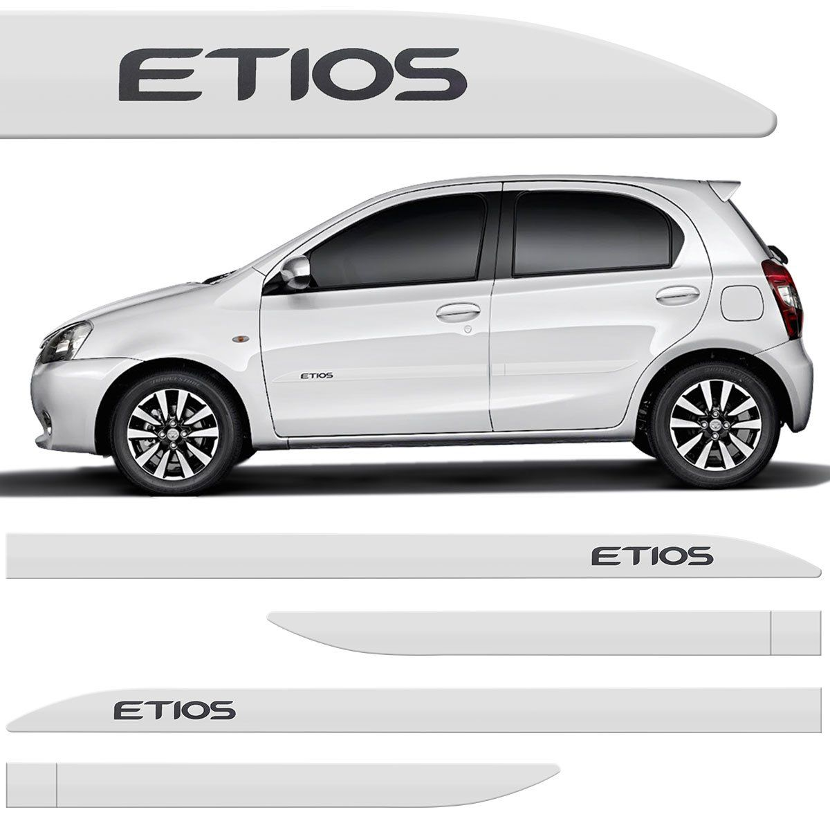Jogo Friso Lateral Etios Hatch Sedan 2013 2014 2015 4 Peça Branco Perola